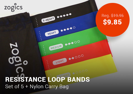 Zogics Resistance Loop Bands, Set of 5 Resistance Bands