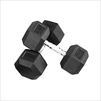 York Barbell Rubber Hex Dumbbells, 2.5–125 lbs