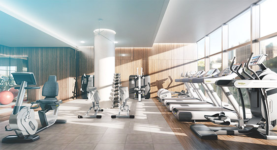 Clean fitness facility