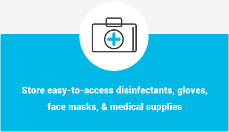 Store easy-to-access disinfectants, gloves, face masks, and medical supplies