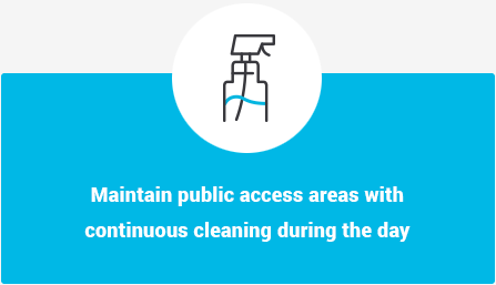 Maintain public access areas with continuous cleaning during the day