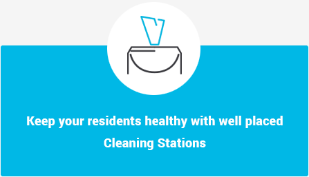 Keep your residents healthy with well placed Cleaning Stations